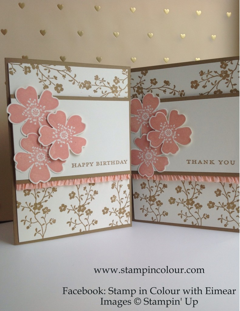Stampin' Up Morning Meadow with Stretch Ruffle Trim, Baked Brown Sugar and Crisp Cantaloupe 1-001