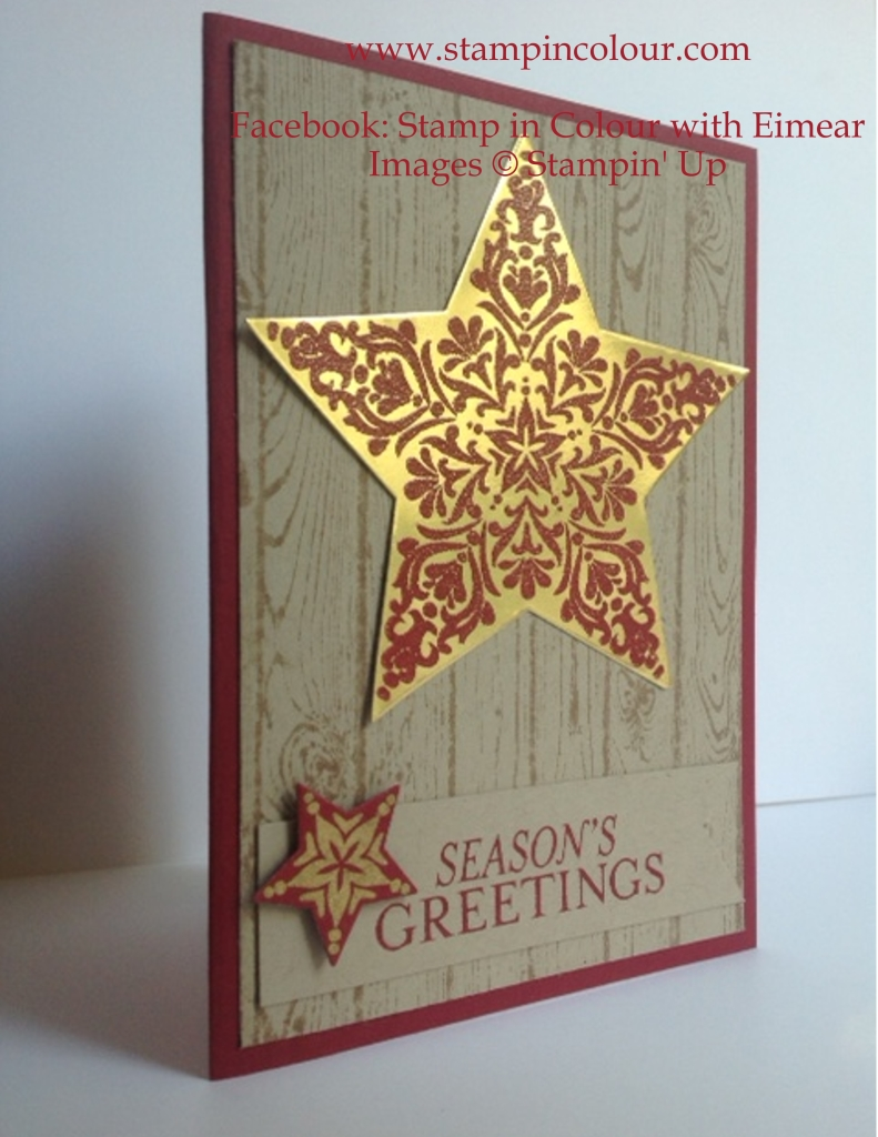 Stampin' Up Bright and Beautiful Hardwood Cherry Cobbler and Gold-001