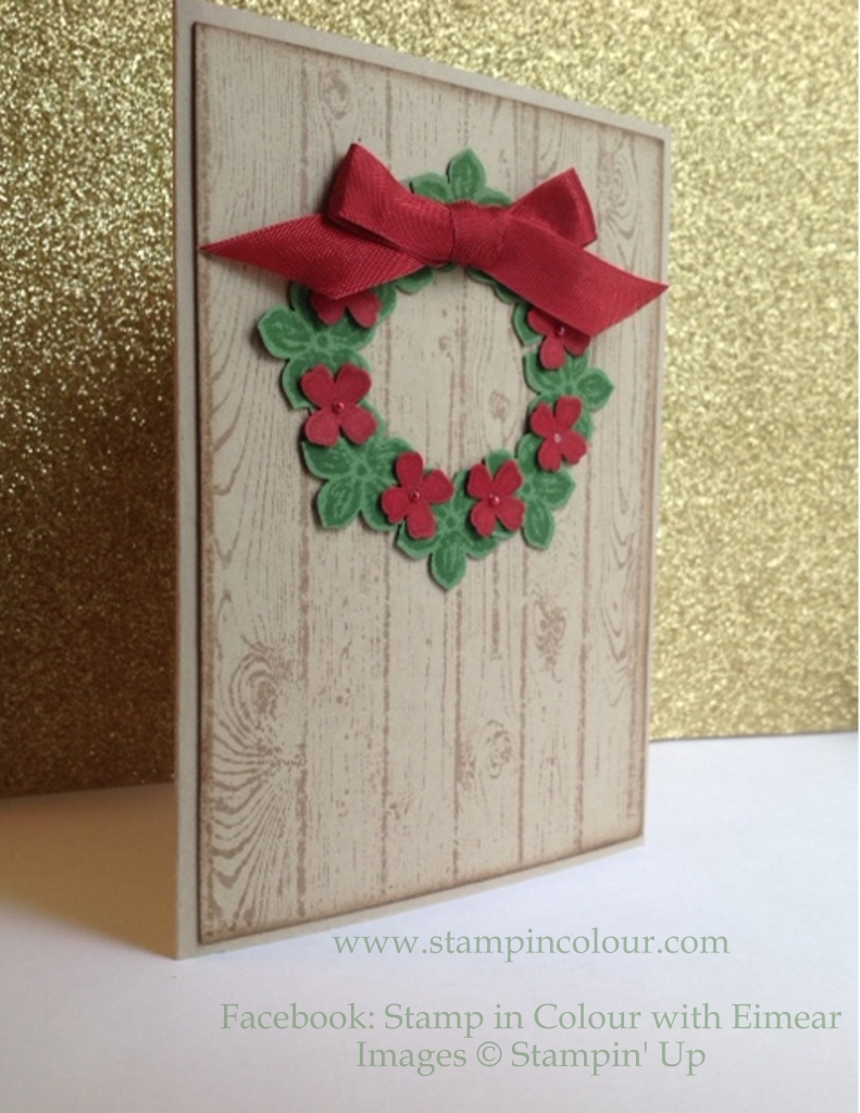 Stampin' Up Christmas Wreath with petite petals and hardwood-001