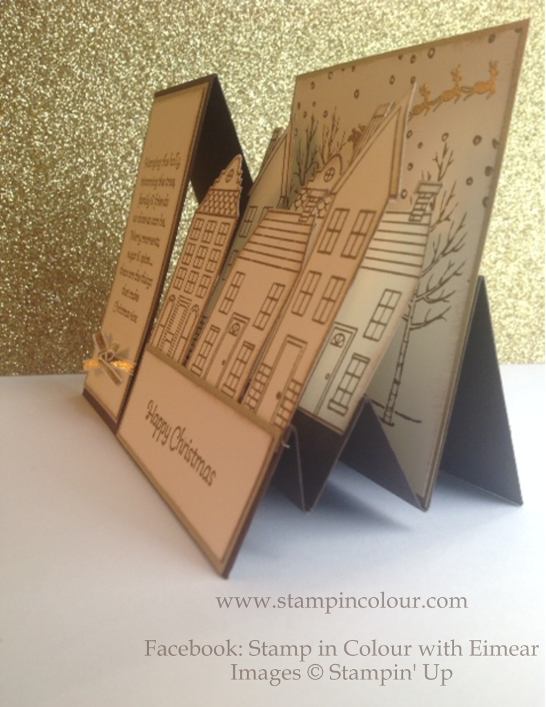 Stampin' Up Stair Step Card Holiday Home Early Espresso side view-001