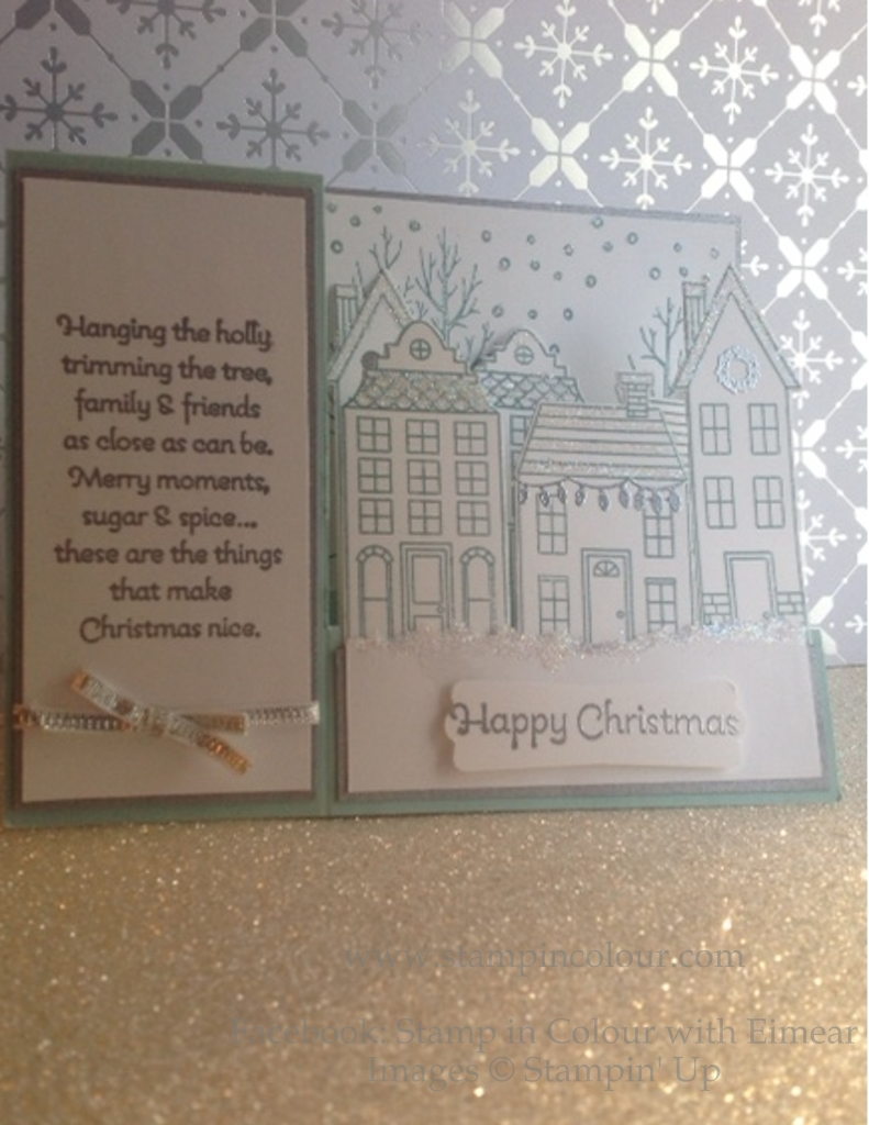 Stampin' Up Stair Step Card Holiday Home Soft Sky front view-001