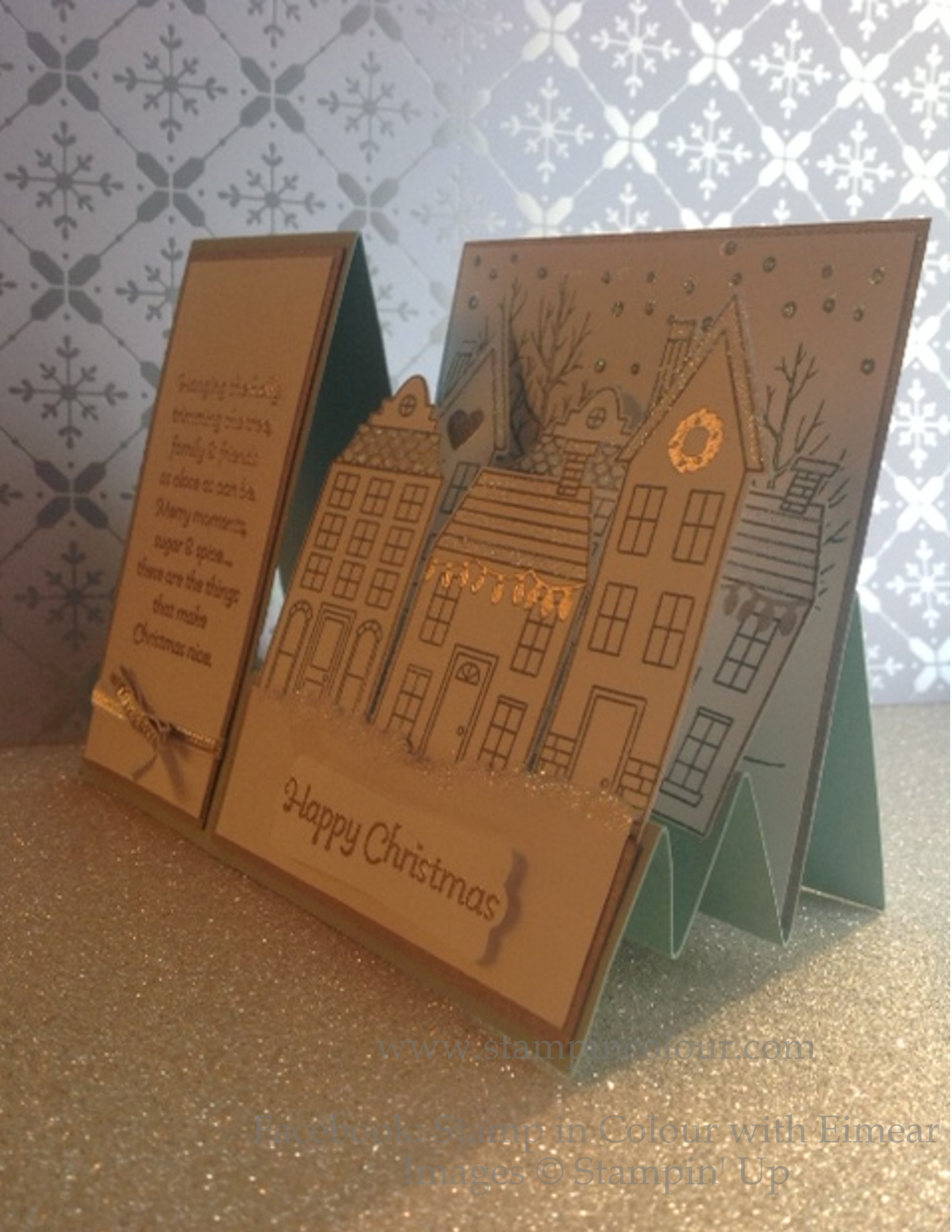 stampin up stair stepper card using holiday home and white christmas