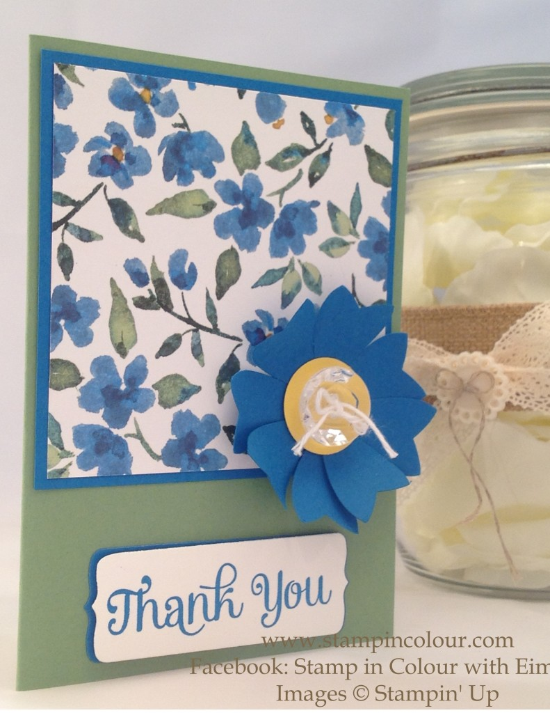 Stampin Up Bow Builder Flower Thank you Card-001