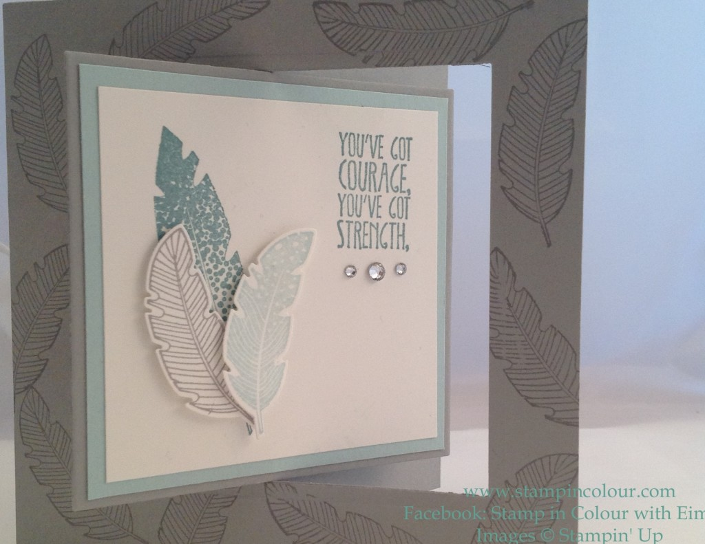 Stampin' Up Floating Window Feather card front-001