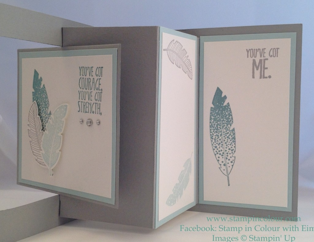 Stampin' Up Floating Window Feather card open-001