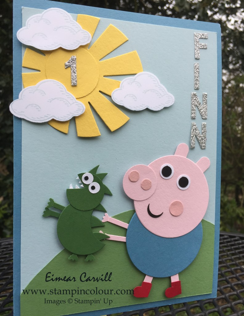 Stampin' Up George Pig Punch Art Birthday card