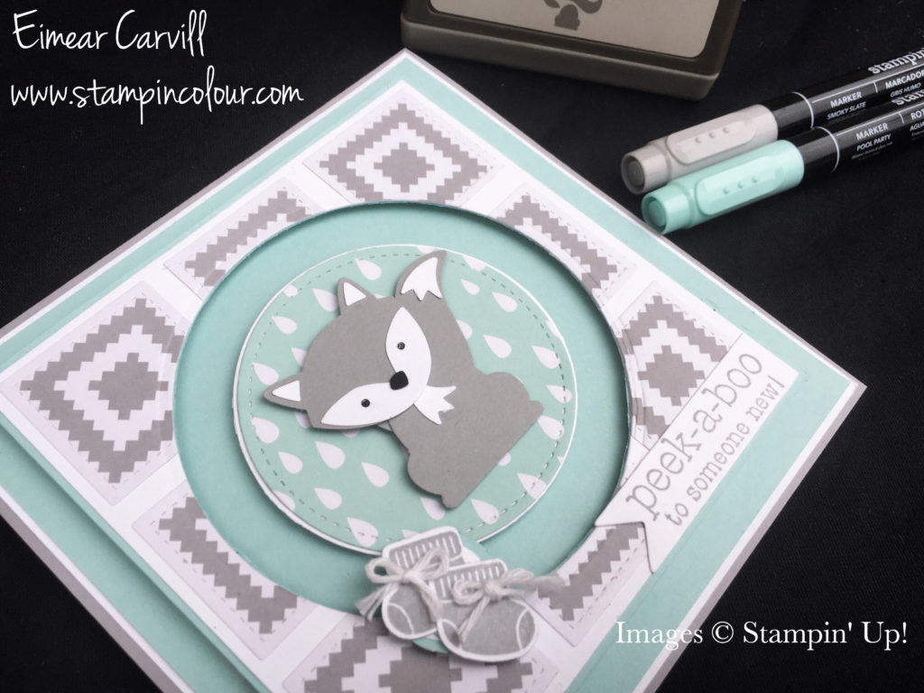 Stamping Up Foxy Friends baby boy spinner card