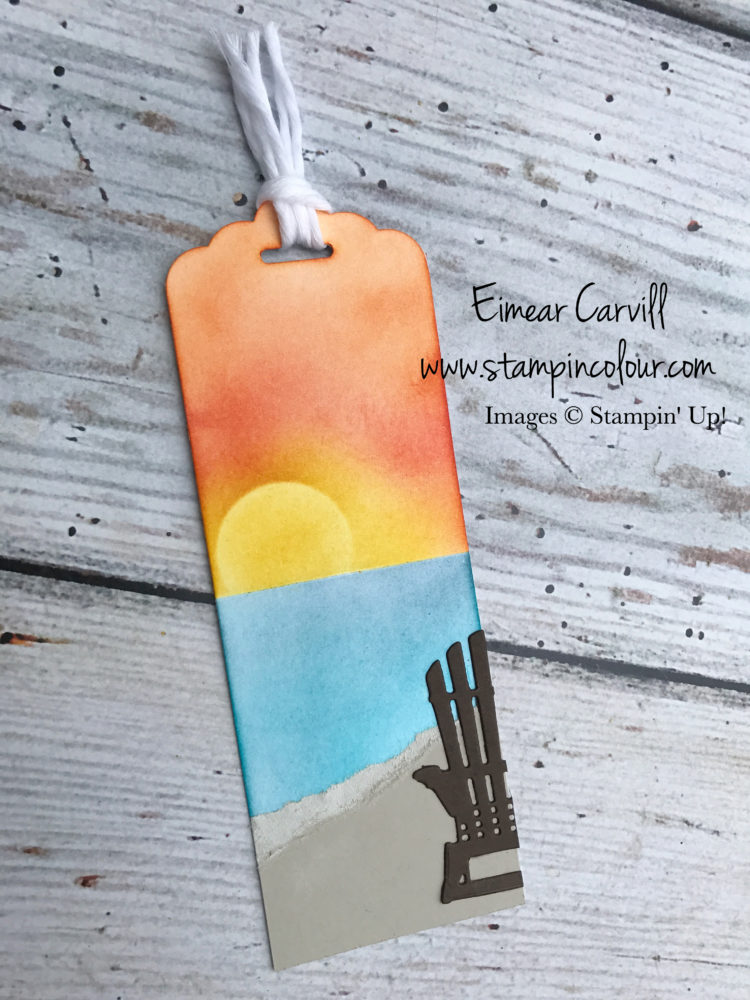 Colourful Seasons Summer Fun Crafty Project Eimear Carvill, www.stampincolour.com, Sponged Sunset, Bookmarks,