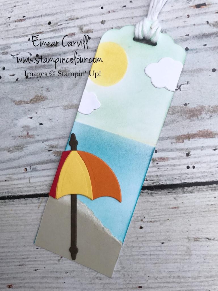 Umbrella Weather Sponged beach scene, Eimear Carvill, www.stampincolour.com, Summer Fun Crafty project
