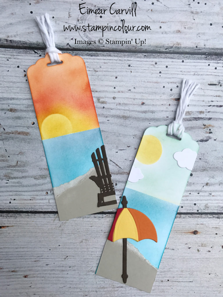 Umbrella Weather and Seasonal Layers Sponged beach scene, Eimear Carvill, www.stampincolour.com, Summer Fun Crafty project
