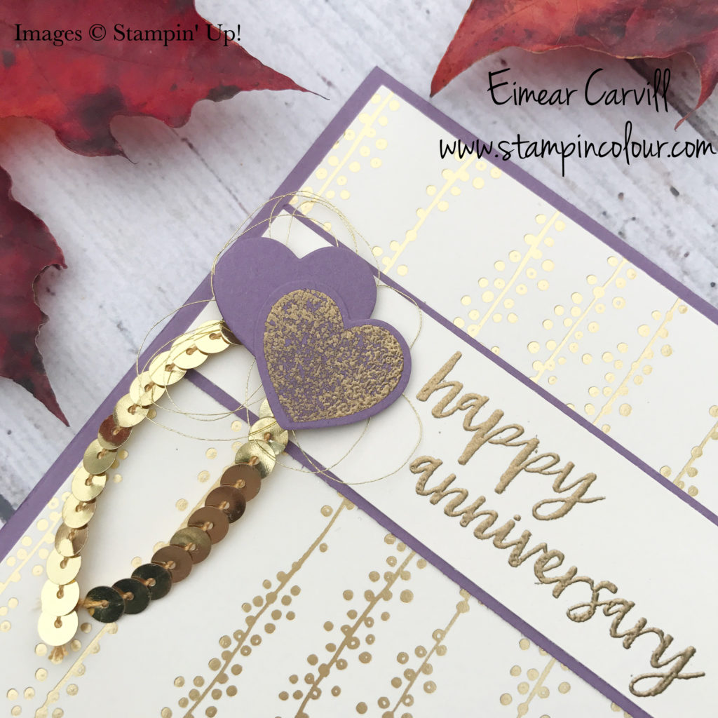 Milestone Moments Wedding Anniversary Card, Bundle of Love DSP, Perfect Plum, Wood Words, Eimear Carvill www.stampincolour.com