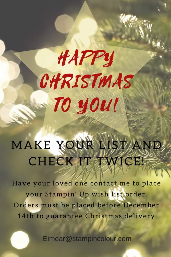 Stamp in Colour Christmas Wish List, Christmas shopping, Eimear Carvill