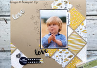 Pick a Pattern traditional scrapbook page using Pieces & Patterns and Sunshine Wishes thinlits, Eimear Carvill www.stampincolour.com