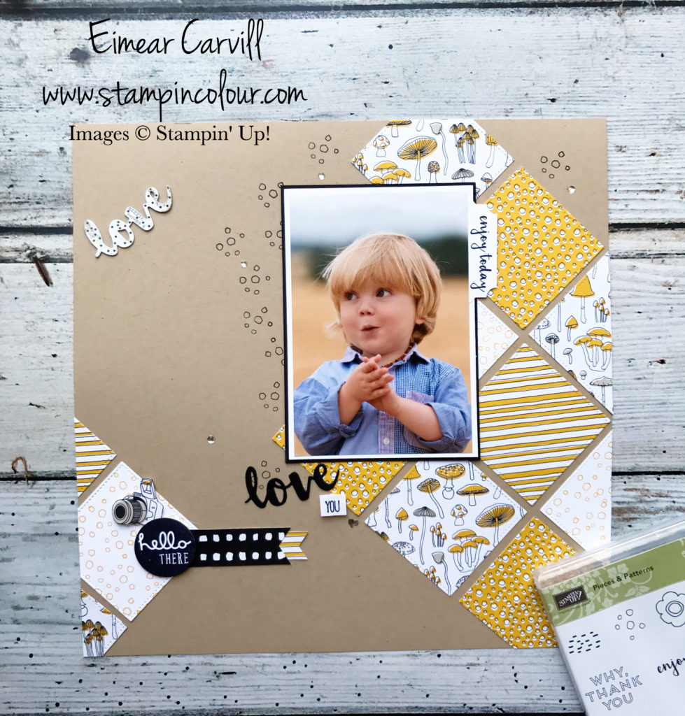 Pick a Pattern scrapbook page using Pieces & Patterns and Sunshine Wishes thinlits, Eimear Carvill www.stampincolour.com