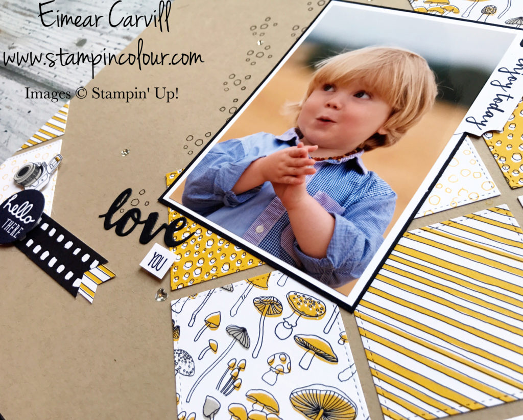 Pick a Pattern traditional scrapbook page using Pieces & Patterns and Sunshine Wishes thinlits Eimear Carvill www.stampincolour.com