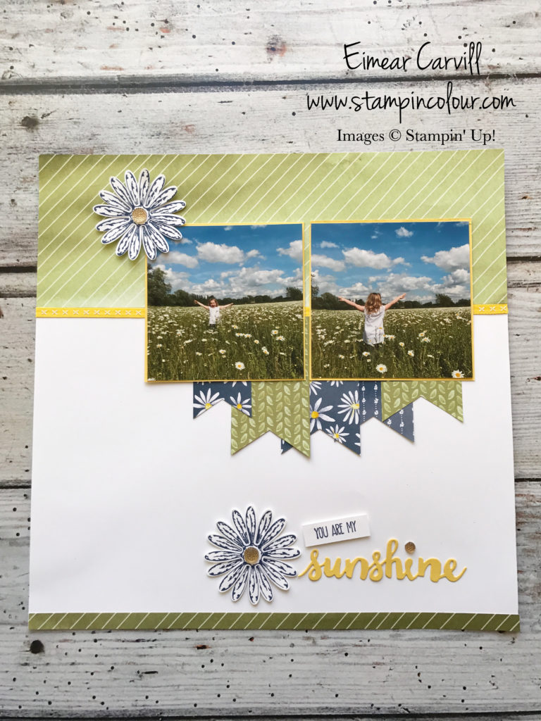 Eimear Carvill www.stampincolour.com Monday Memories and More - Delightful Daisy Scrapbook page