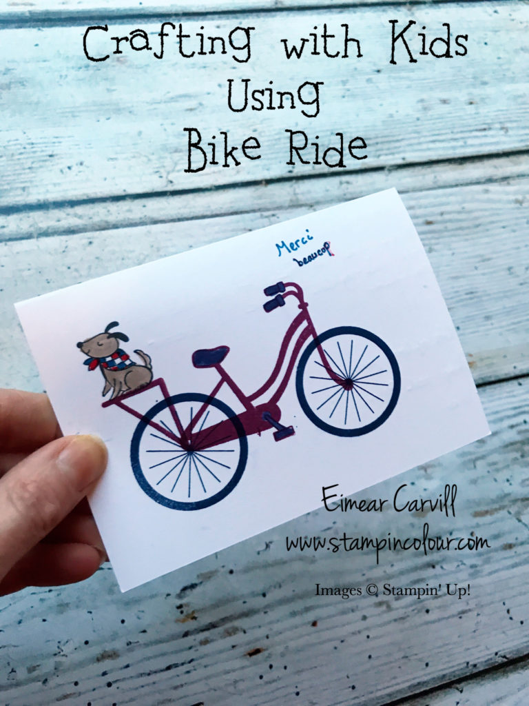 Crafting with Children using Bike Ride to thank Friends and Family for Christmas gifts